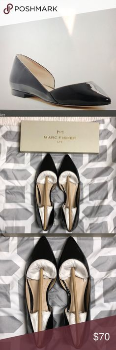 NWT Marc Fisher Sunny d'Orsay Black Leather Flat NWT Marc Fisher Sunny d'Orsay Black Patent Leather Flat size 7.5 pointed toe, slip on, stacked heel.  Leather upper. Marc Fisher Shoes Flats & Loafers