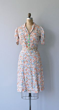 Marzipan rayon dress vintage 1930s dress floral by DearGolden