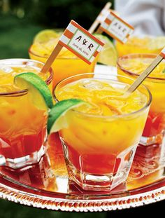 """Signature Cocktail - Tequila Sunrise, renamed the """"Long Beach Sunset"""" for how Alex proposed. <3"""