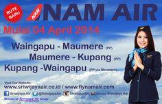 NEW ROUTES…!!!  Mulai 04 April 2014 NAM AIR (Member of Sriwijaya Air Group) melayani rute: Waingapu – Maumere (PP), Maumere – Kupang (PP), Kupang – Waingapu (PP via Maumere).  Pemesanan dan Pembayaran tiket dapat dilakukan di: Website www.sriwijayaair.co.id, atau hubungi Call Centre (24 jam) 021-29279777 / 0804-1-777777, atau Kantor Perwakilan Sriwijaya Air di Kota Anda, atau Biro Perjalanan di Kota Anda. Terima kasih.