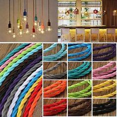 Vintage Bunt Kabel Schnur Binde Seil Cable DIY für Lampe Birnen Glühbirne Licht