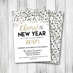 new years party invitation new years eve invitation new years eve party invitation personalized front back included