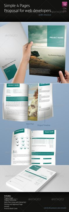 Simple 4 Pages Proposal for Web Developers - Proposals & Invoices Stationery
