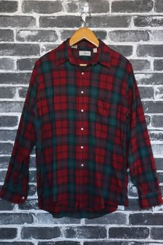 de2db3af8df216 Vintage LL Bean Plaid Flannel RED Green Nova Check Shirt Long Sleeve Mens  Hunting Season Wear casual wear Western Preppy Grunge Shirt Size M