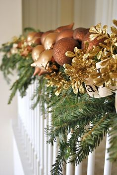 Substitute these coppery brown and gold hues for the standard red and green in you Christmas decor this year.