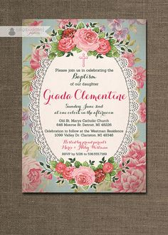 Shabby Chic Baptism Invitation Lace Roses Christening Baby Girl Pink Floral Rose Christian Cross DIY Digital or Printed - Giada Style on Etsy, $20.00