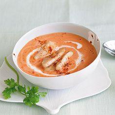 Kokos-Tomaten-Suppe mit Hähnchenstreifen