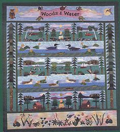 Woods & Water ~ multi-design nature quilt - Includes 6 scenic blocks and directions for all patchwork borders and sets. Applique Quilt Patterns, Landscape Quilts, Woods, Frame, Water, Design, Scrappy Quilts, Picture Frame, Gripe Water