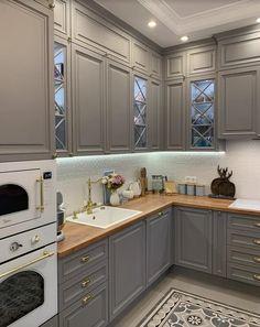 Black Kitchen Decor, Grey Kitchen Designs, Kitchen Cupboard Designs, Kitchen Cabinet Remodel, Kitchen Cabinet Styles, Kitchen Room Design, Modern Kitchen Design, Home Decor Kitchen, Interior Design Kitchen