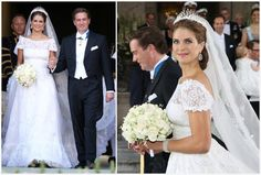 The 6 meter long veil extended past the train in the back and made a lovely picture sweeping up the aisle.  Princess Madeleine's wedding gown was designed by Valentino, and it was a summer confection in delicate lace.