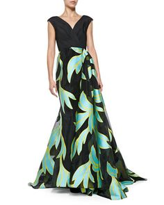 V-Neck Wrap-Overlay Ball Gown by Christian Siriano at Neiman Marcus.