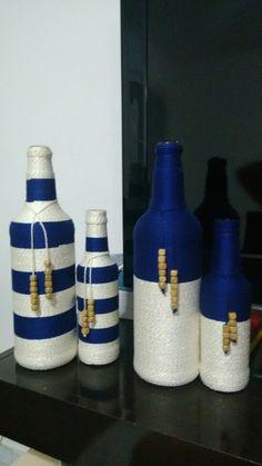 Items similar to Wine bottle decor on Etsy Wine Bottle Design, Wine Bottle Art, Diy Bottle, Wine Bottle Crafts, Jar Crafts, Yarn Bottles, Reuse Bottles, Bottles And Jars, Glass Bottles