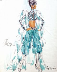 1973 A costume design by Bob Mackie for Cher, felt pen on paper, signed, the design showing Cher wearing a turquoise costume with feathered pants, feathered shoulders and a low cut top