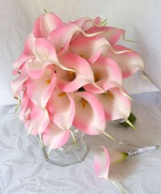 lily wedding bouquet | lily wedding bouquet simple elegant Real touch mini pink calla lily ...