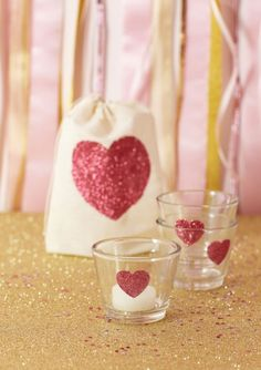 tutorial: handmade glittered muslin bag + votives  {One Charming Party}