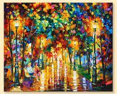 Gossips  Limited Edition Colorful Park Fine by AfremovArtStudio