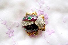 Purple Ladybug Swarovski Crystals Purple And Green Enamel Brooch by SokolProjectsVintage on Etsy