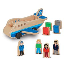 Melissa and Doug Wooden Airplane Play Set, Multicolor