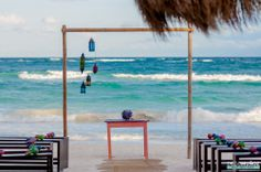 Ceremony set up at La Zebra Hotel in Tulum, Mexico by Diego Muñoz Photography #weddingceremony #tulumwedding #weddingphotography