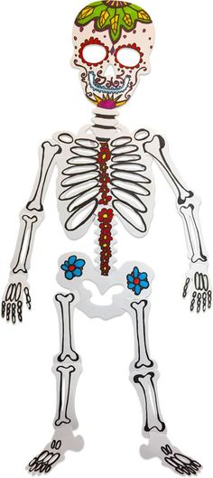 Image of Roylco Those Bones decorated as Day of the Dead Multicultural Crafts, Skeleton, Card Stock, Bones, Craft Projects, Art Ideas, How To Make, Mexican, Image
