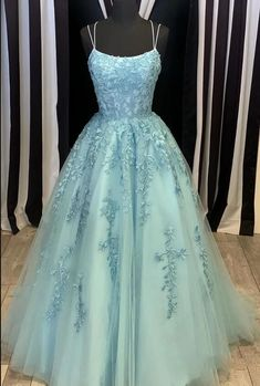 Gorgeous Lace Prom Dress Girls Long Graduation Formal Gown with Straps ,Evening Party GownPL0630 Dresses Elegant, Pretty Prom Dresses, Tulle Prom Dress, Lace Evening Dresses, Prom Dresses Blue, Prom Party Dresses, Dance Dresses, Evening Gowns, Beautiful Dresses