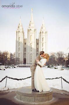 winter LDS temple wedding