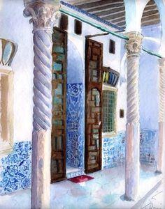 Alger, Dar El-hamra - Peinture,  50x40 cm ©2010 par Catherine Rossi -