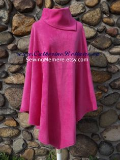 RASPBERRY Poncho - QUALITY.  Canadian custom made soft warm polar fleece, single layer poncho with collar scarf, selection of colors, double layers available.  $60.00  www.CatherineBellaire.ca