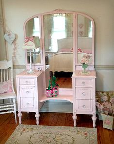 Stunning Pink Vanity with Trifold Mirror