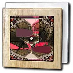 Maroon and Pink on Olive Green Textured and Swirled Rectangles and Other Shapes Tile Napkin Holder