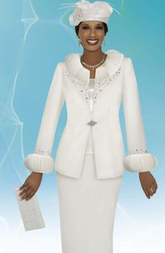 pictures of women's suits with hats | ... Intl 47254 Womens Off White Church Suit with Included Hat image