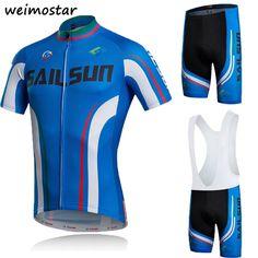 816e1c34b Men s Blue Bike MTB Bicycle Jersey Cycling Clothing (Bib) shorts set Summer  Wear