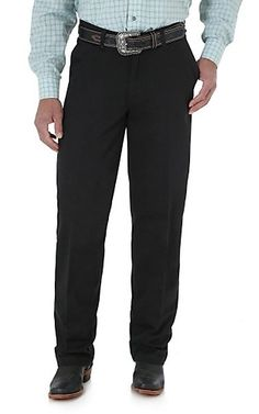 Wrangler Riata Black Flat Front Casual Relaxed Fit Pants