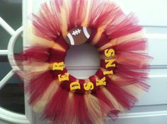 Football tutu wreath - except, make it a Niner's wreath & it's perfect.... or a charger's wreath to show some support for our Mantz