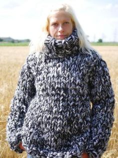 Thick hand knit wool jumper