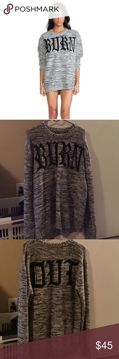 Offers welcome Unif burn out sweater Soo comfy. My second unif purchase (first was the prima dress!) love this sweater but I haven't worn it in years. Size is small but definitely an oversized fit. Offers are welcome through the offer option. UNIF Sweaters Crew & Scoop Necks