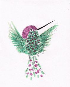Bird Print Mint and Pink Hummingbird - Art Print of Drawing art illustration - Wall Art - 5x7 Print