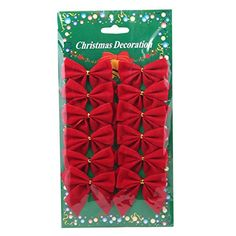 Tirain Christmas Tree/wedding/party Decorations 12pcs Red Bowknot (Red (12pcs)) ** Click image for more details.