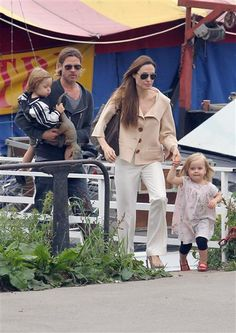 Brad Pitt and Angelina Jolie  Twins: Knox Léon and Vivienne Marcheline  Born: July 12, 2008  With a brood as large as the Jolie-Pitt clan, you'd think it would be difficult to come up with names for their babies. To our surprise, that's not the case. Angie and Brad are inspired by locales and family names when deciding on monikers for their fraternal twins. Knox was named after Brad's grandfather, whereas Vivienne was named in honor of Angie's late mother. So sweet!