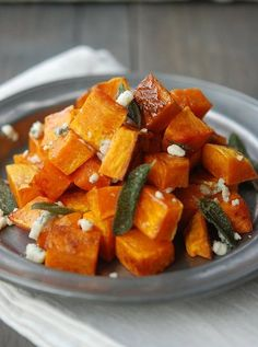 Roasted Butternut Squash with Blue Cheese and Sage