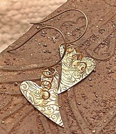 Embossed & swirled heart earrings