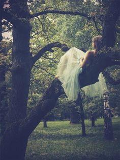 bride climbing trees in outdoor wedding
