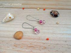 Boucle d'oreilles perle nacrée et cristal de swarovski rose : Boucles d'oreille par couleur-grenadine33