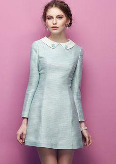 Turquoise Bead Lapel Long Sleeve Slim Dress US$56.07