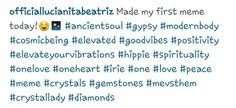 She made it Instagram @ officiallucianitabeatriz # gypsy ancient soul cosmic being elevated positivity elevate your vibrations spirituality onelove, crystals hippie oneheart, peace meme, crystals gemstones diamonds Crystals And Gemstones, Hashtags, Cosmic, Gypsy, First Love, Spirituality, Diamonds, Positivity, Memes