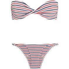 Lisa Marie Fernandez Alexia textured-pucker bandeau bikini ($225) ❤ liked on Polyvore featuring swimwear, bikinis, red, striped swimwear, low rise bikini, striped bikini, bikini swimwear and bandeau swimwear
