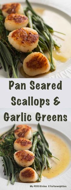 Maya saved to PCOS Kitchen - Fatforweightloss - Pan Seared Scallops & Garlic Greens - This easy low carb and gluten-free dinner is perfect for a romantic evening! Healthy Gluten Free Recipes, Ketogenic Recipes, Low Carb Recipes, Pescatarian Recipes, Ketogenic Diet, Seafood Casserole Recipes, Seafood Recipes, Pcos, Pan Seared Scallops