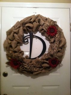 Hey, I found this really awesome Etsy listing at https://www.etsy.com/listing/181398625/burlap-wreath-with-red-sunflowers-and