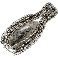 "Huge Pinolith Jasper 925 Sterling Silver Pendant 2 1/2"" PD555608"