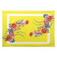 A Vintage Style Floral Placemat Cloth Place Mat by MousefxArt.Com (Mouse Cottage Store)